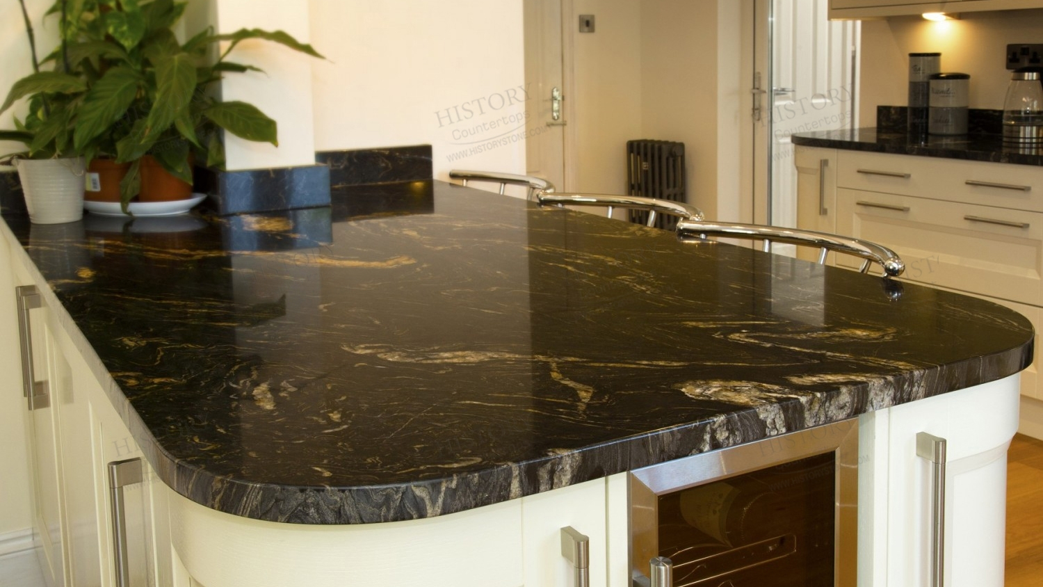 Black Granite Countertops And White Cabinets
