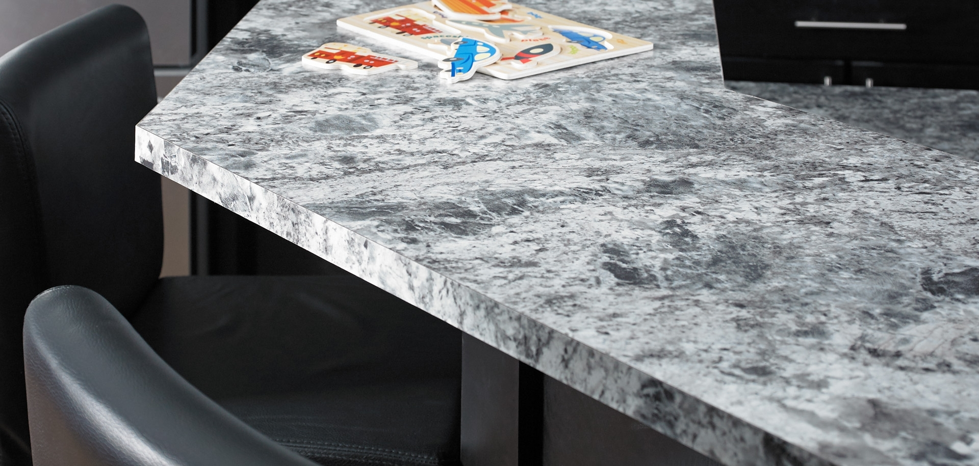 Blue Flower Granite Kitchen – Madison Art Center Design