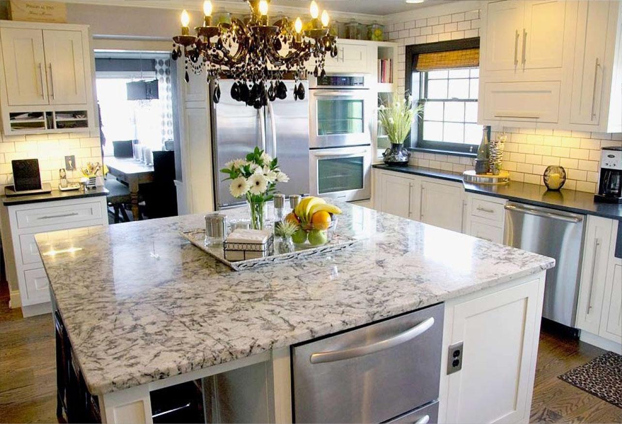 Blue Flower Granite Kitchen Madison Art Center Design