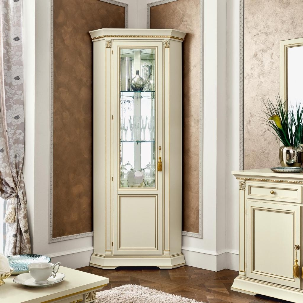 Collectible Display Cabinet With Glass Door