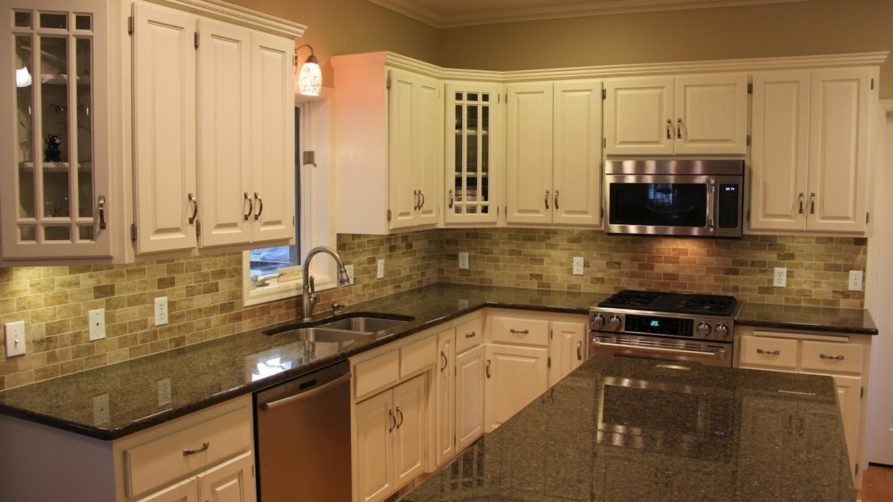 Dark Brown Granite Countertops With White Cabinets Madison Art