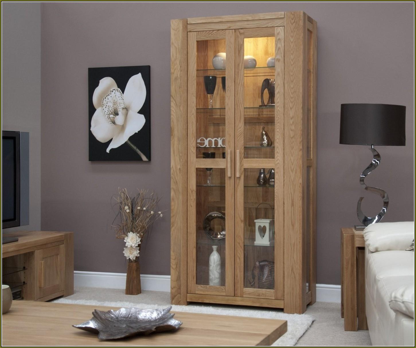 Glass Door Display Cabinet Black