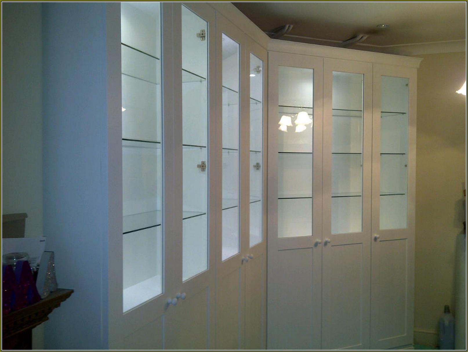 Pine Glass Door Display Cabinet
