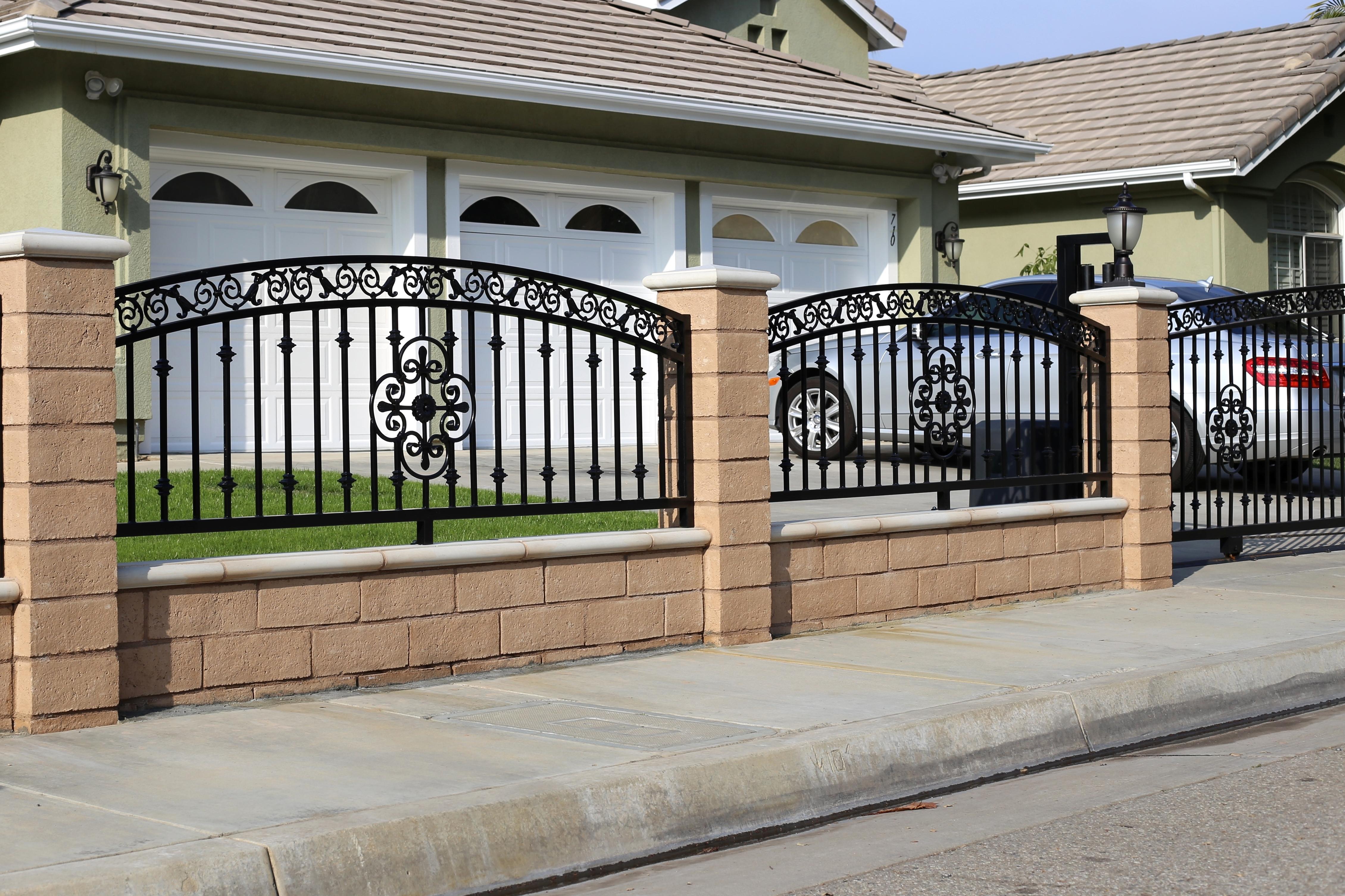 Wrought Iron Fences With Brick Columns