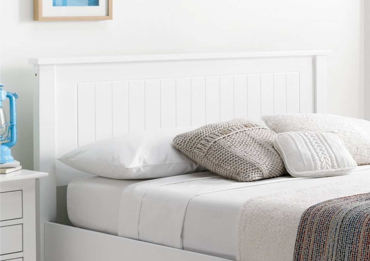 White Wood Queen Size Headboard